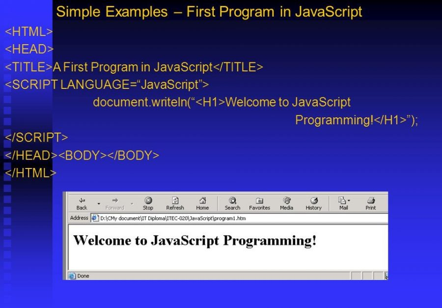 Tutorial On Writing The First JavaScript Program